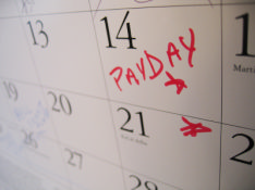 photo shows holiday planner with a mark on pay day